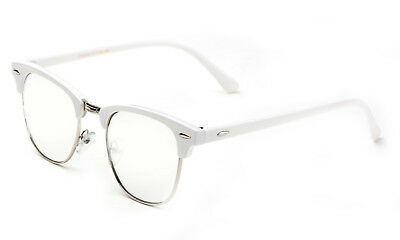 White Clear Lens Glasses Clubmaster Aviator Retro Eyewear Men Women Vintage