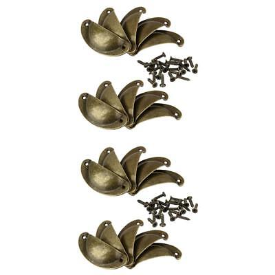 20Pcs VINTAGE BRASS SHELL CUPPED CUP PULL WARDROBE DRAWER CUPBOARD HANDLE
