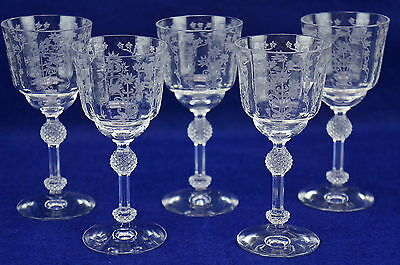 """Fostoria Manor Clear #6007 Etch 286-Lot of (5) Wine Glasses/Goblets, 5"""""""
