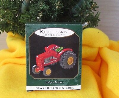 Hallmark Antique Tractors 1 in Series 1997 Miniature Christmas ornament Red Toy