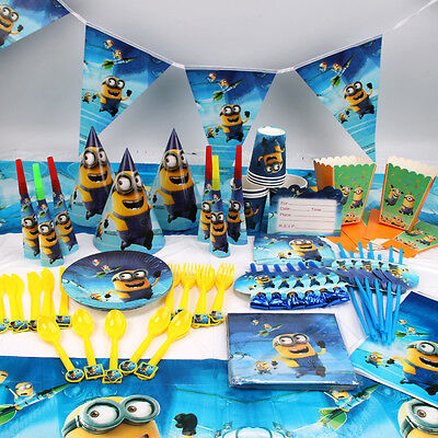 New Kids Minions Theme Birthday Party Supplies Favor Tableware Decor Gift