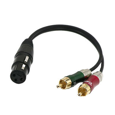 "12"" 1ft Female XLR to Dual RCA Male Phono Lead Cable Splitter Audio Cord"