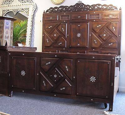 Beautiful Original Syrian Carved Bed with Mother of pearl Queen size Moroccan