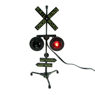 Railroad Crossing Signal Flashing Red Lights Desk Lamp RR Xing Train Sign Light