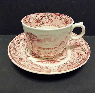 Transferware Cup and Saucer WAA Adderley England Rhone Pattern 1870s 80s Red