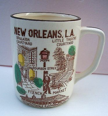 Vintage New Orleans Souvenir Mug Cup Made in Japan Fun Graphics 1950s