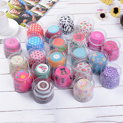 Random 100 pcs Cupcake Liner Baking Cups Mold Paper Muffin Cases Cake Decor Pop.