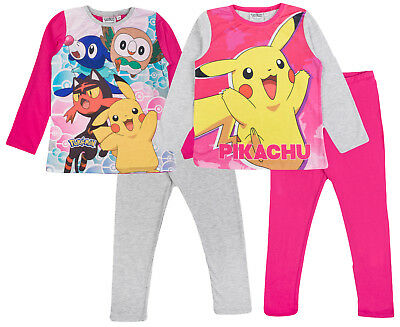 Girls Pokemon Go Pyjamas Full Length Pikachu Pjs 2 Piece Pyjama Set Kids Size