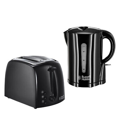 Russell Hobbs 1.7L Gloss Black Cordless Kettle + Toaster Set - 3 Year Warranty