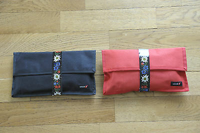 Swissair First Class Kulturbeutel Set Tasche 2x, VTG Vintage 1991
