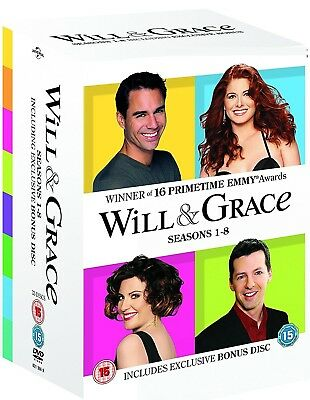 WILL & GRACE 1-8 (1998-2006) COMPLETE ORIGINAL TV Seasons Series - R2 DVD not US