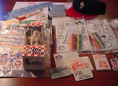 Huge Vintage Retro BIG BOY Restaurant Lot Bobble Head Cap Toys Card Decks Etc.