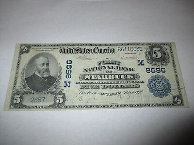 $5 1902 Starbuck Minnesota MN National Currency Bank Note Bill! Ch #9596 VF+!