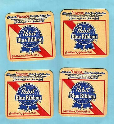 (4) PABST BLUE RIBBON BEER COASTERS  .... all the same ..... Milwaukee, Wis.