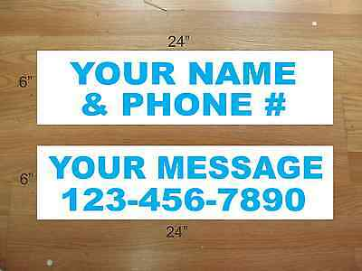 "10 6""x24"" White & Cyan Blue REAL ESTATE NAME RIDER SIGNS CUSTOM LOWEST PRICE NEW"