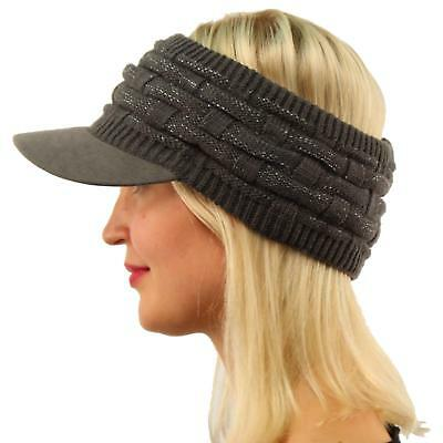 Winter Open Top 2ply Thick Knit Headband Faux Suede Visor Beanie Hat Cap