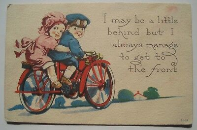 Cute Couple on Vintage Motorcycle Old 1915 Postcard; to Olivia MN