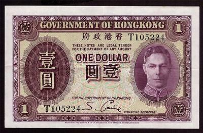 1936 Hong Kong One $1 Dollar Purple T105224 P312 EF45 EPQ no holes no tears