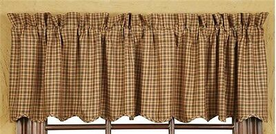 Rustic Country Primitive Millsboro Valance Scalloped Farmhouse Curtain