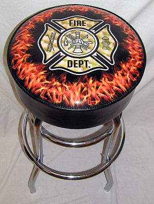 Fire Department  Ladder Hose Flames Bar Stool Stools