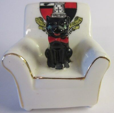 Arcadian China Crest Ware Stoke on Trent Black Cat on Chair