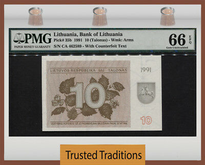 TT PK 35b 1991 LITHUANIA 10 TALONAS PMG 66 EPQ GEM UNCIRCULATED NONE FINER