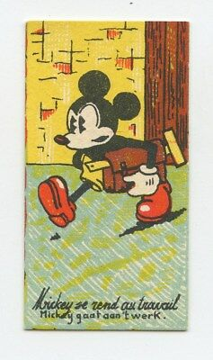 Disney Small Trade Card Mickey Mouse GO WORK Chocolaterie Rubis original c1930s