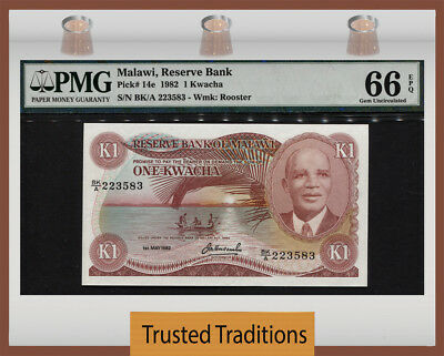TT PK 14e 1982 MALAWI 1 KWACHA PMG 66 EPQ GEM UNC TOP POPULATION FINEST KNOWN!
