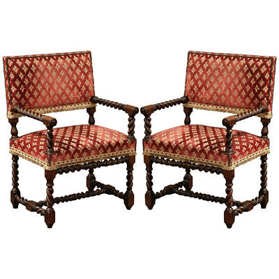 Barley Twist Chair - Pair of 19th Century, French, Carved Louis XIII Armchairs