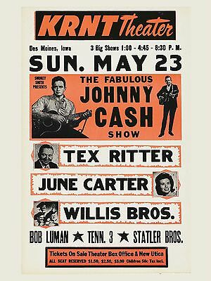 "Johnny Cash KRNT Theatre 16"" x 12"" Photo Repro Concert Poster"