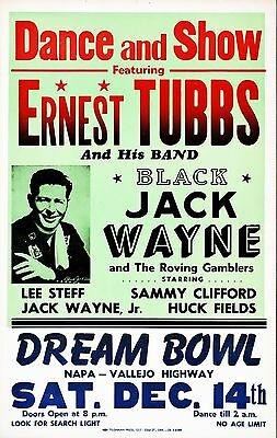 "Ernest Tubbs 16"" x 12"" Photo Repro Concert Poster"