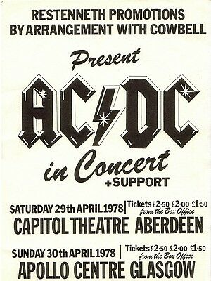 "AC/DC Glasgow Apollo 16"" x 12"" Photo Repro Concert Poster"