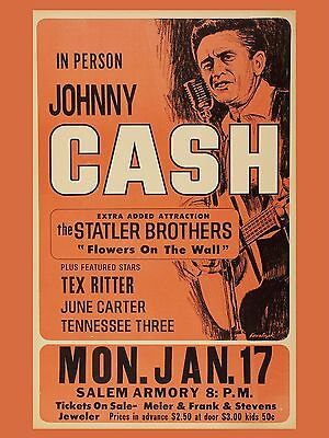 "Johnny Cash Salem 16"" x 12"" Photo Repro Concert Poster"