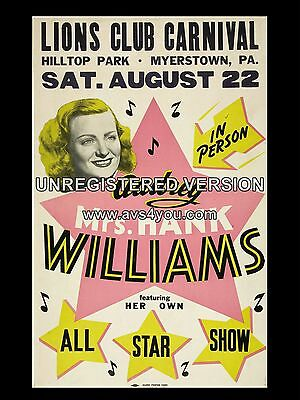 "Audrey Williams 16"" x 12"" Photo Repro Concert Poster"