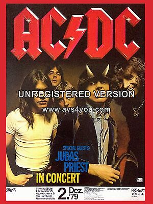 "ACDC / Judas Preist German 1979 16"" x 12"" Photo Repro Concert Poster"
