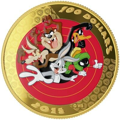 Canada 2015 $100 Gold Coin Looney Tunes™ Bugs Bunny Pocketwatch Wooden Box Set