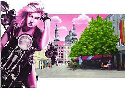 Pinup Girl Motorcycle Modern Postcard