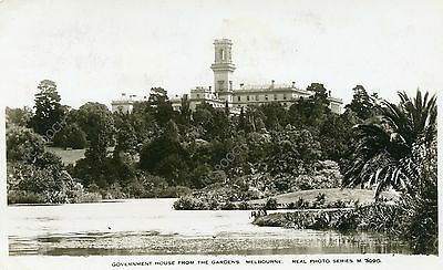 vintage postcard real photo government House from Gardens Melbourne Australia
