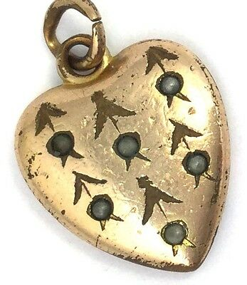 Antique Victorian Heart Charm Etched Design Faux Pearl Accents Gold Plated