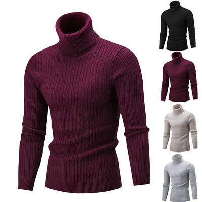 Men Winter Fitness Warm Knit High Neck Pullover Jumper Sweater Top Turtleneck