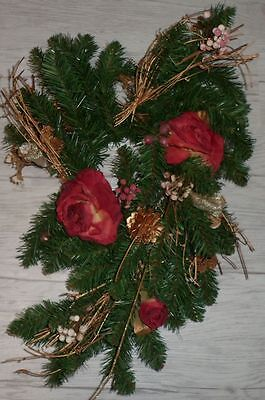 Christmas Artictifical Pine Cedar Wreath Burgundy Silk Roses Gold Cone Twigs