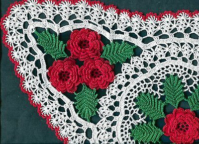 "Roses 7 red Rose Oval Centerpiece Flower 28"" X 15"" Crochet Doily Doilies"