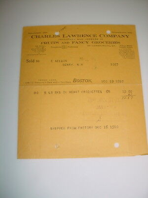 Vintage Receipt Letterhead #09-Charles Lawrence Co. Fruits 1910