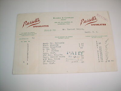 Vintage Business Receipt Letterhead #65-Russell & Company Chocolate Makers 1911