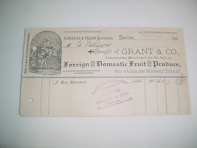 Vintage Business Receipt Letterhead #37- Grant & Co. Bananas & Pears Specialties