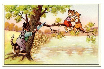 vintage cat postcard dressed cats sat on tree branch cat w saw cutting it off