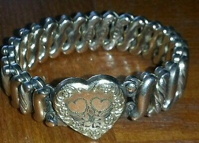 True vintage Gold filled DFB Company expansion heart bracelet Carmen Goldtone d3