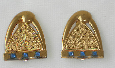 Art Deco / Nouveau Brass or Gold-tone Dress Clips with Square Blue Rhinestones