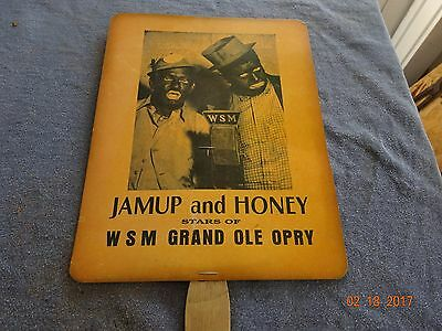 VINTAGE 40s ADVERTISING HAND FAN JAMUP AND HONEY WSM GRAND OLE OPRY! BLACK FACE