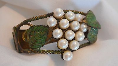 Unusual Vintage Brass Bracelet Beautiful Cultured White Grapes Pearls (AHB